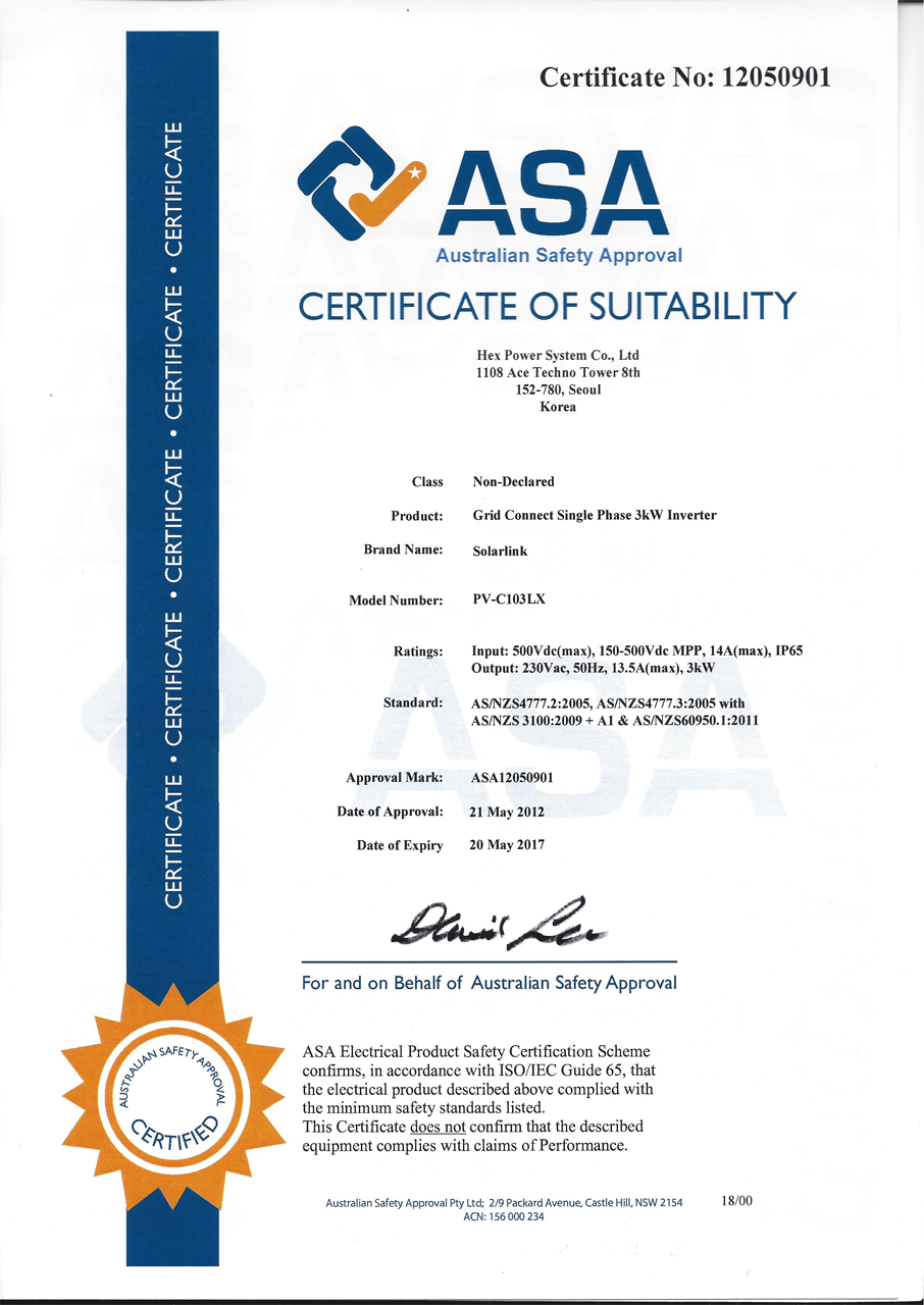 Welcom to hexpowersystem product certification status 1betcityfo Gallery